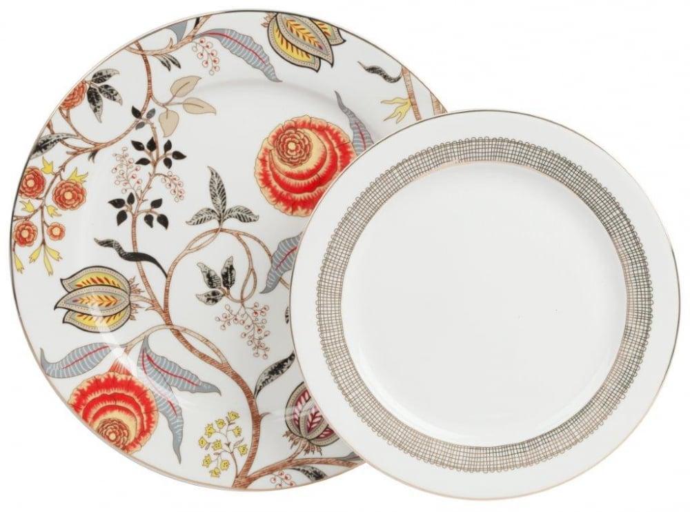 Комплект тарелок JardinКомплекты тарелок<br>Комплект фарфоровых тарелок Jardin в нежном <br>стиле станет отличным украшением для вашего <br>стола, а возможно, и фамильной реликвией. <br>Все предметы выполнены из белоснежного <br>костяного фарфора, имеют тонкую золотистую <br>окантовку и украшены узором с цветами, стеблями <br>и листьями. Комплект тарелок Jardin послужит <br>хорошим подарком, особенно, если в дополнение <br>к нему приобрести в нашем интернет-магазине <br>другие предметы посуды из этой же коллекции. <br>Большая тарелка: 25,5*25,5*0,8; Малая тарелка: <br>20,5*20,5*0,8<br><br>Цвет: Белый, Красный<br>Материал: Костяной фарфор<br>Вес кг: 0,7<br>Длина см: 25,5<br>Ширина см: 25,5<br>Высота см: 0,8