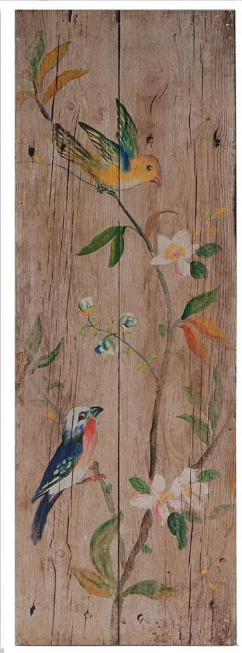 Декоративная настенная панель PalladianДекор стен<br>Декоративная настенная панель Palladian I — <br>безусловный показатель стиля Прованс в <br>вашем доме. Искусственно состаренный материал <br>издали напоминает кусок потрескавшегося <br>от сухости дерева, на котором будто акварельными <br>красками нарисованы прекрасные цветы и <br>забавные разноцветные птицы. Такая панель <br>непременно украсит комнату во французском <br>провинциальном оформлении.<br><br>Цвет: Бежевый, Разноцветный<br>Материал: МДФ, Бумага<br>Вес кг: 1,8<br>Длина см: 30,48<br>Ширина см: 3,05<br>Высота см: 90,17