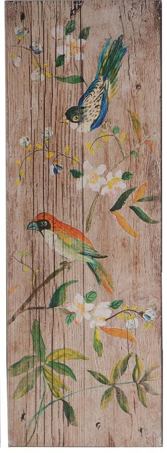 Декоративная настенная панель PalladianДекор стен<br>Декоративная настенная панель Palladian III <br>— безусловный показатель стиля Прованс <br>в вашем доме. Искусственно состаренный <br>материал издали напоминает кусок потрескавшегося <br>от сухости дерева, на котором будто акварельными <br>красками нарисованы прекрасные цветы и <br>забавные разноцветные птицы. Такая панель <br>непременно украсит комнату во французском <br>провинциальном оформлении.<br><br>Цвет: Бежевый, Разноцветный<br>Материал: МДФ, Бумага<br>Вес кг: 1,8<br>Длина см: 30,48<br>Ширина см: 3,05<br>Высота см: 90,17