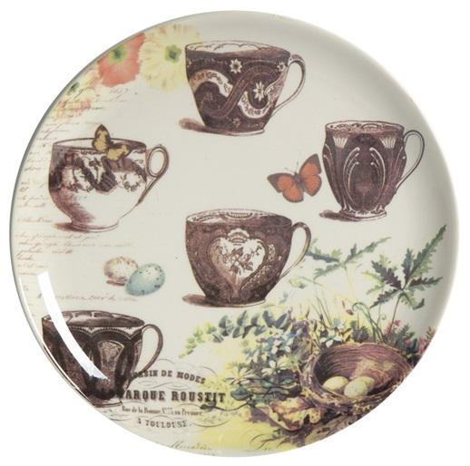 Тарелка GrunjТарелки<br>Выполненная из грубой керамики тарелка <br>Grunj диаметром 21 см декорирована разноцветным <br>рисунком с преобладанием коричневого цвета, <br>на котором изображены разнообразные чашки, <br>растения, бабочки, что придаёт ей особую <br>элегантность. Благодаря фантазийному рисунку, <br>тарелка может стать самостоятельным элементом <br>интерьера кухни или столовой и украсит <br>любой дом.<br><br>Цвет: Разноцветный<br>Материал: Грубая керамика<br>Вес кг: 0,3<br>Длина см: 21<br>Ширина см: 21<br>Высота см: 2
