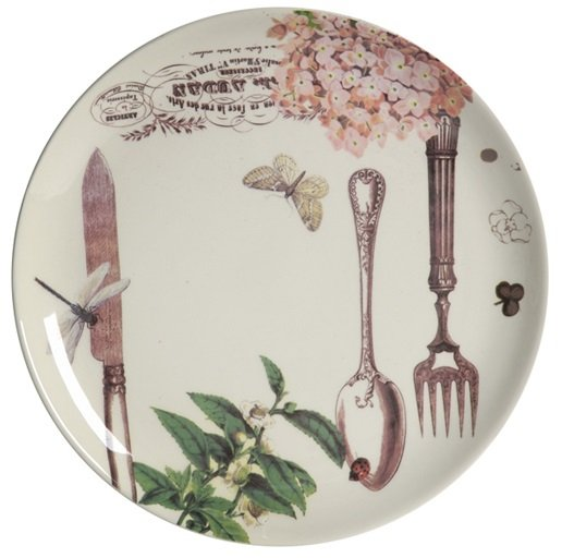 Тарелка MoisТарелки<br>Тарелка Mois диаметром 18 см изготовлена из <br>грубой керамики с нанесением разноцветного <br>рисунка, на котором изображены столовые <br>приборы, цветы, бабочки. Тарелку можно приобрести <br>отдельно или в комплекте с другими столовыми <br>предметами из коллекции. Благодаря фантазийному <br>рисунку, тарелка может стать самостоятельным <br>элементом интерьера кухни или столовой <br>и украсит любой дом.<br><br>Цвет: Разноцветный<br>Материал: Грубая керамика<br>Вес кг: 0,3<br>Длина см: 21<br>Ширина см: 21<br>Высота см: 2