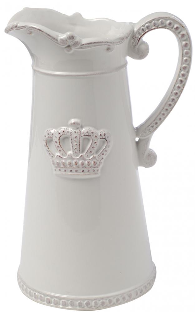 Кувшин AishaКухонные принадлежности<br>Небольшой белый кувшин Aisha классической <br>формы с рельефным декором в виде короны <br>подарит вам эстетическое наслаждение и <br>позитивный настрой. Несмотря на минимальный <br>декор, он выглядит очень элегантно и вполне <br>подойдет для украшения гостиной, кухни <br>и дачного стола, из него очень удобно наливать <br>молоко или сливки. Кувшин можно приобрести <br>отдельно или в дополнение к другим предметам <br>коллекции.<br><br>Цвет: Белый<br>Материал: Керамика<br>Вес кг: 0,8<br>Длина см: 15<br>Ширина см: 13<br>Высота см: 24
