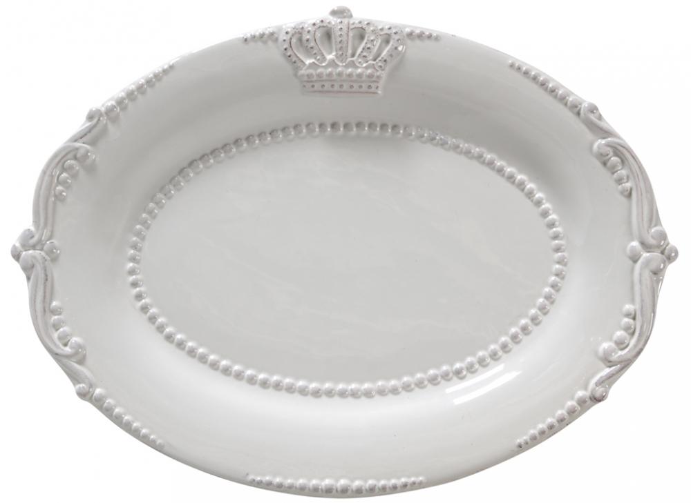 Овальное блюдо AishaБлюда<br>Элегантное белое блюдо Aisha выполнено из <br>грубой керамики и декорировано рельефным <br>геральдическим рисунком, благодаря такому <br>декору оно украсит любой стол, сервированный <br>к празднику или приему гостей. Также блюдо <br>может служить самостоятельным элементом <br>декора. Блюдо можно приобрести как отдельно, <br>так и в дополнение к другим предметам этой <br>же коллекции.<br><br>Цвет: Белый<br>Материал: Грубая керамика<br>Вес кг: 0,6<br>Длина см: 32<br>Ширина см: 26<br>Высота см: 4