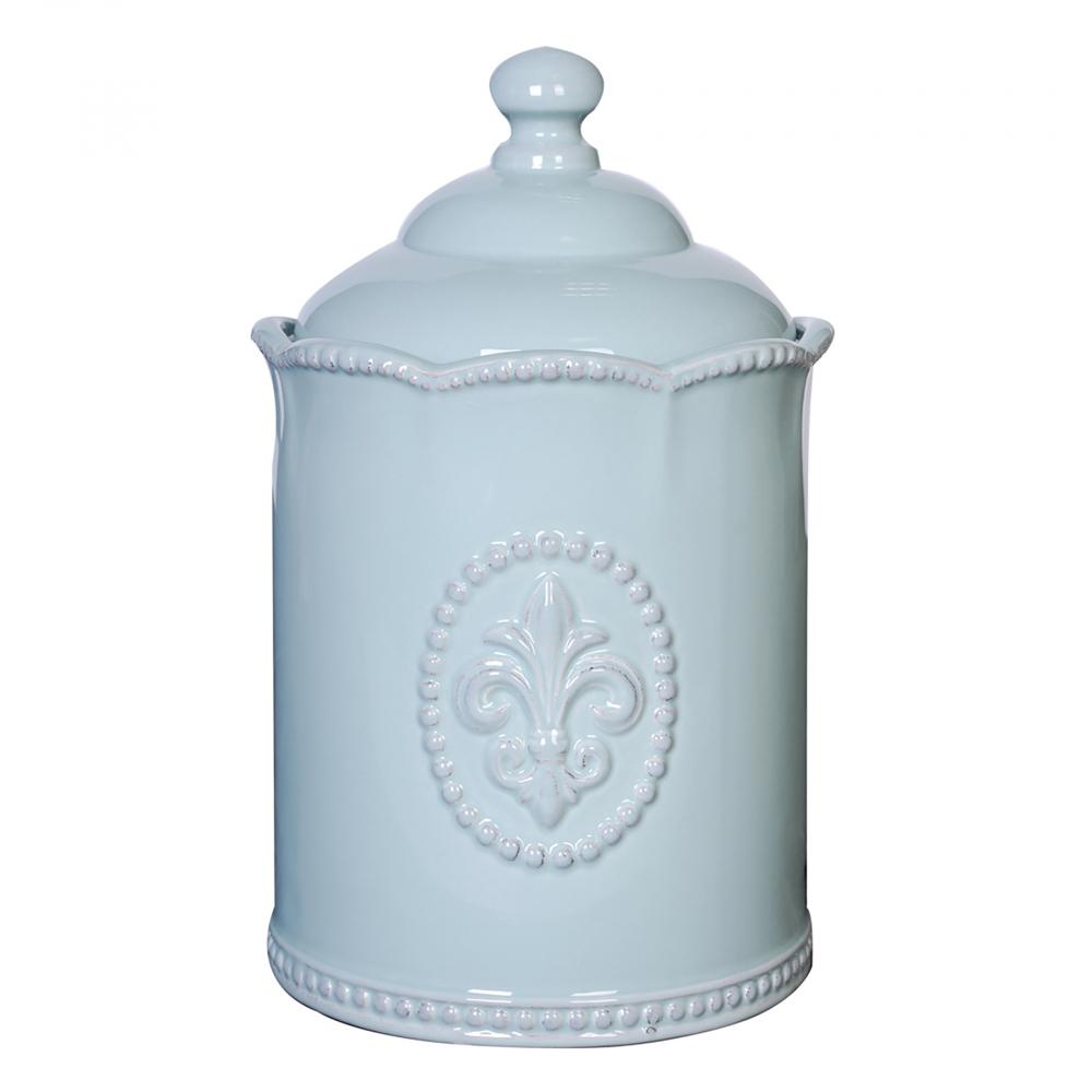 Емкость для хранения Tess BlueКухонные принадлежности<br>Голубая керамическая ёмкость декорирована <br>рельефным рисунком в виде геральдической <br>лилии, дополнена удобной крышкой. Благодаря <br>жизнеутверждающему дизайну выгодно украсит <br>интерьер вашего дома.<br><br>Цвет: Голубой<br>Материал: Керамика<br>Вес кг: 0,8<br>Длина см: 12,7<br>Ширина см: 12,7<br>Высота см: 20