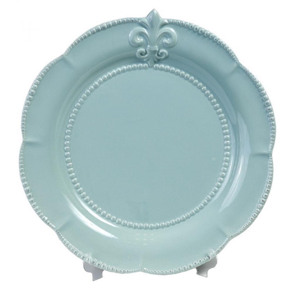 Тарелка Tess BlueТарелки<br>Голубая керамическая тарелка Tess Blue диаметром <br>24 см изготовлена для любителей посуды насыщенного <br>цвета. Тарелка декорирована по краю рельефным <br>рисунком в виде геральдической лилии. Тарелку <br>можно приобрести как отдельно, так и в дополнение <br>к другим предметам этой же коллекции.<br><br>Цвет: Голубой<br>Материал: Грубая керамика<br>Вес кг: 0,5<br>Длина см: 24<br>Ширина см: 24<br>Высота см: 1