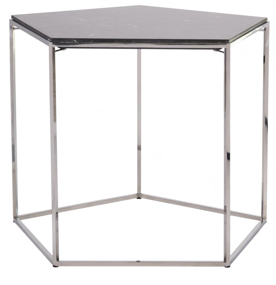 Кофейный столик StoneКофейные и журнальные столы<br>Оригинальный кофейный столик Stone в виде <br>пятигранника станет удачным приобретением <br>для ценителей кофе. Столешница из натурального <br>мрамора чёрного цвета опирается на легкое <br>металлическое основание. Несмотря на миниатюрные <br>размеры столика, за ним могут с удобством <br>расположиться несколько человек, а интересный <br>дизайн изделия украсит собой любой интерьер.<br><br>Цвет: Чёрный<br>Материал: металический каркас, мраморная столешница<br>Вес кг: 19<br>Длина см: 64<br>Ширина см: 64<br>Высота см: 50
