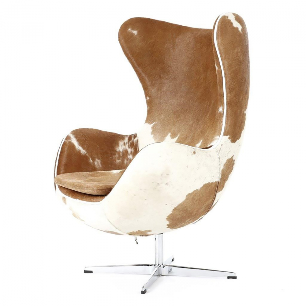 Кресло Egg Chair Коричнево-белое Кожа Пони Кресла<br>Кресло Egg Chair (Яйцо) было создано в 1958 году <br>датским дизайнером Арне Якобсеном специально <br>для интерьеров отеля Radisson SAS в Копенгагене. <br>Кресло обладает исключительной привлекательностью <br>и узнаваемостью во всем мире, занимает особое <br>место в ряду культовой дизайнерской мебели <br>XX века. Оно имеет экстравагантную форму <br>и неординарное исполнение, что позволило <br>ему стать совершенным воплощением классики <br>нового времени. Кресло Egg Chair, выполненное <br>в форме яйца, подарит огромное множество <br>положительных эмоций и заставляет обращать <br>на него внимание. Оно непременно задаёт <br>основу для дизайна того или иного помещения. <br>Прочный и массивный каркас гарантирует <br>долгий срок службы и устойчивость. Данное <br>кресло — это поистине не стареющая классика <br>в футуристическом исполнении! Купите великолепную <br>реплику кресла Egg Chair — изготовленное из <br>высококачественных материалов, оно понравится <br>многим любителям нестандартного видения <br>обыденных и, притом, качественных вещей.<br><br>Цвет: Коричнево-белый<br>Материал: Натуральная Кожа Пони, Металл<br>Вес кг: 35<br>Длина см: 82<br>Ширина см: 76<br>Высота см: 105