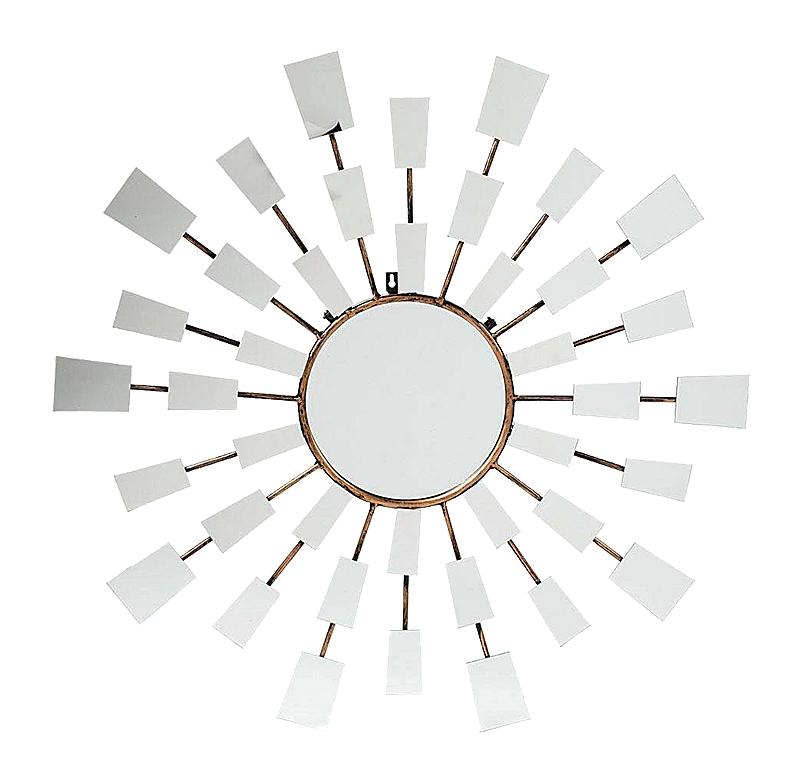 Зеркало RaysЗеркала<br>Зеркало-солнце, модель эпохи ар деко, в <br>нашем варианте с прямоугольными зеркальцами <br>на лучах. Ударная вещь для строгого сбалансированного <br>интерьера. Блеск дорогого дерева придает <br>зеркалу строгость и утонченность. Выполнено <br>из натурального массива красного дерева, <br>глянцевый или матовый лак. Возможны различные <br>цветовые решения.<br><br>Цвет: Бронза<br>Материал: Металл, Зеркало<br>Вес кг: 5<br>Длина см: 90<br>Ширина см: 3<br>Высота см: 90