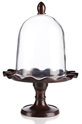 Сервировочный поднос с куполом Crystal Dome Сервировка стола<br>Великолепный сервировочный поднос «Хрустальный <br>купол» доставит удовольствие любому гурману. <br>Он сохранит температуру и аромат ваших <br>блюд, а самая обычная еда, сервированная <br>и поданная на стол с его помощью, превратится <br>в кулинарный шедевр. Элегантный поднос <br>и ручка стеклянного купола выполнены из <br>металла и тонированы в чёрный цвет. Объем <br>4 л.<br><br>Цвет: прозрачный, коричневый<br>Материал: Металл, Стекло<br>Вес кг: 1,8<br>Длина см: 22<br>Ширина см: 22<br>Высота см: 30