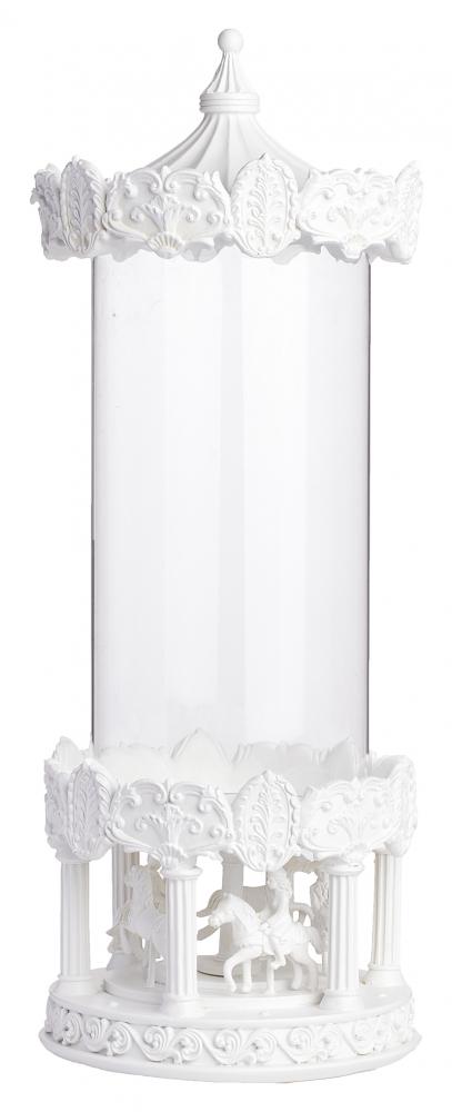Декоративная ваза Grazia (23*23*58)Вазы<br>Уникальная декоративная ваза Grazia II — это <br>великолепие в каждой детали, тонкая работа, <br>изысканный дизайн и неповторимая форма <br>в виде детской карусели. Детали, изготовленные <br>из полирезина, имеют очаровательную лепку, <br>которая передает каждую мелочь, что не может <br>не вызывать восторг. Стеклянная колба позволит <br>осветить лучами свечи достаточно большое <br>пространство, при этом сохранив романтическую <br>обстановку.<br><br>Цвет: Прозрачный, Белый<br>Материал: Полирезин, Стекло<br>Вес кг: 6<br>Длина см: 23<br>Ширина см: 23<br>Высота см: 58