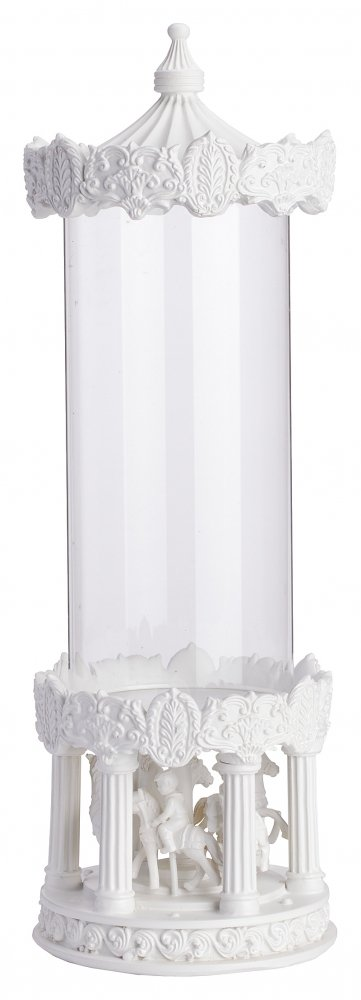 Декоративная ваза Grazia (18*18*40)Вазы<br>Уникальная декоративная ваза Grazia II — это <br>великолепие в каждой детали, тонкая работа, <br>изысканный дизайн и неповторимая форма <br>в виде детской карусели. Детали, изготовленные <br>из полирезина, имеют очаровательную лепку, <br>которая передает каждую мелочь, что не может <br>не вызывать восторг. Стеклянная колба позволит <br>осветить лучами свечи достаточно большое <br>пространство, при этом сохранив романтическую <br>обстановку.<br><br>Цвет: Прозрачный, Белый<br>Материал: Полирезин, Стекло<br>Вес кг: 4<br>Длина см: 18<br>Ширина см: 18<br>Высота см: 40