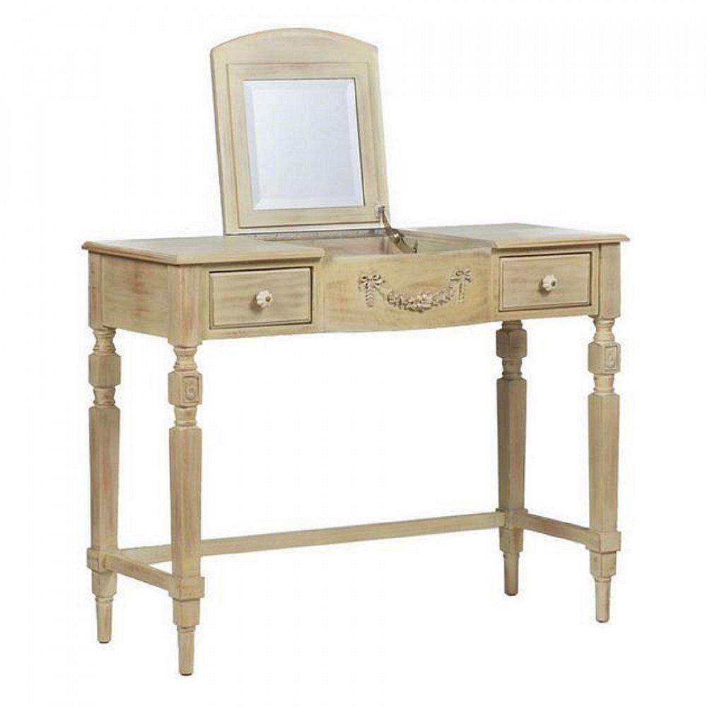 Туалетный столик с зеркалом VanityТуалетные столики (консоли)<br>Туалетный столик Vanity — простой, но изысканный <br>предмет интерьера, который непременно придется <br>по вкусу любительницам роскошных вещей <br>и порядка в комнате. Название этого туалетного <br>столика Vanity — тщеславие — говорит само <br>за себя. Столик на резных узорных ножках <br>оснащен тремя ящиками, что позволит его <br>владелице хранить самое необходимое. Игривый <br>столик из массива ели в стиле французского <br>Прованса украсит спальню красавицы в загородном <br>доме. Он выполнен из искусственно состаренного <br>дерева и имеет приятный песочный цвет. Оснащенный <br>зеркалом, удобной столешницей и выдвижными <br>ящичками, такой столик поможет аккуратно <br>разложить украшения или мелкие, всегда <br>нужные под рукой предметы.<br><br>Цвет: Бежевый<br>Материал: Дерево, МДФ, Зеркало<br>Вес кг: 16<br>Длина см: 106,5<br>Ширина см: 44<br>Высота см: 81,5