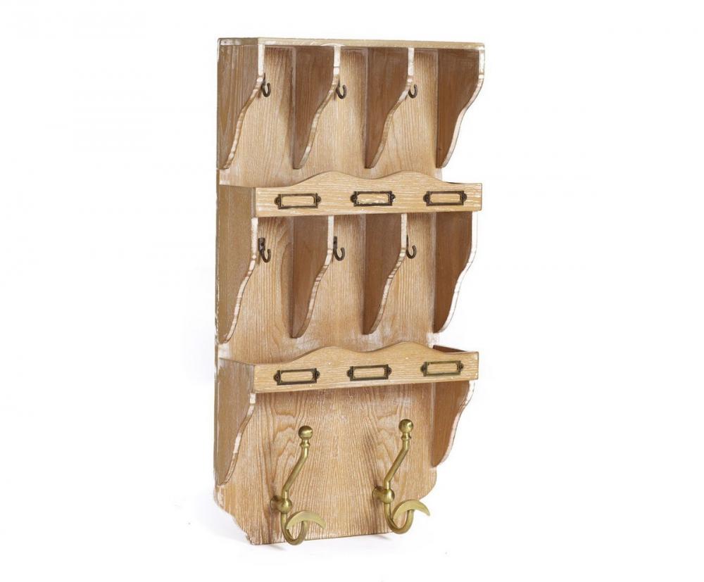 Настенная ключница Kenzie, DG-D-545  Настенная ключница Kenzie станет отличным  помощником в хранении связок ключей всех  членов семьи. Это прекрасное украшение  вашей прихожей, оформленной как в кантри-стиле,  так и в любом другом. Основание предмета  декора выполнено из МДФ, крючки — металлические  (шесть маленьких коричневого цвета и два  больших золотого), под рамочки можно вставить  таблички с надписями. Все это делает аксессуар  очень практичным. Он непременно добавит  уюта и комфорта вашему дому.