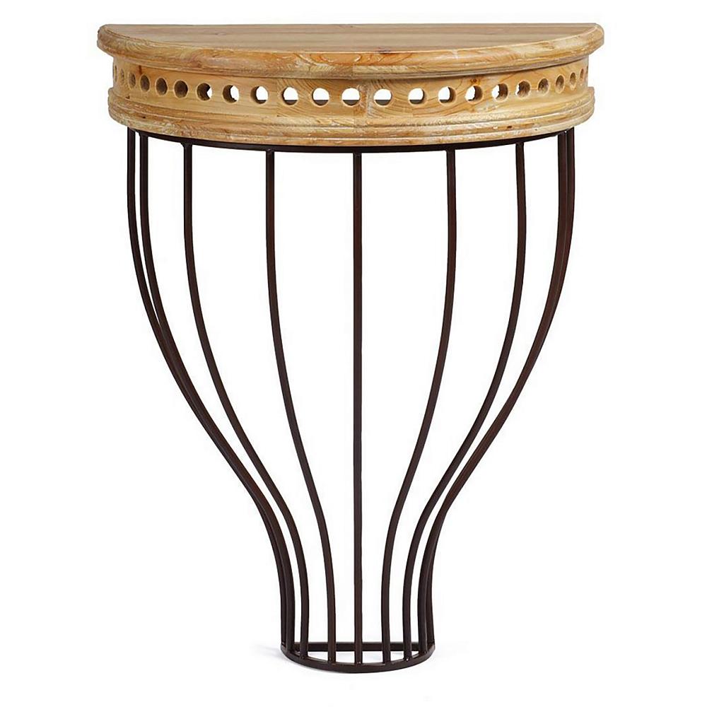 Подвесная консоль Annika PiccolaАксессуары<br>Подвесная консоль Annika Piccola создана для <br>любителей изыска и удобства, с отпечатком <br>очаровательной старины. Слегка потертая <br>деревянная столешница смонтирована на <br>виртуозно изогнутых металлических прутьях. <br>Этот прекрасный столик способен сделать <br>вашу жизнь комфортней.<br><br>Материал: МДФ, металл<br>Вес кг: 4<br>Длина см: 29<br>Ширина см: 13<br>Высота см: 50