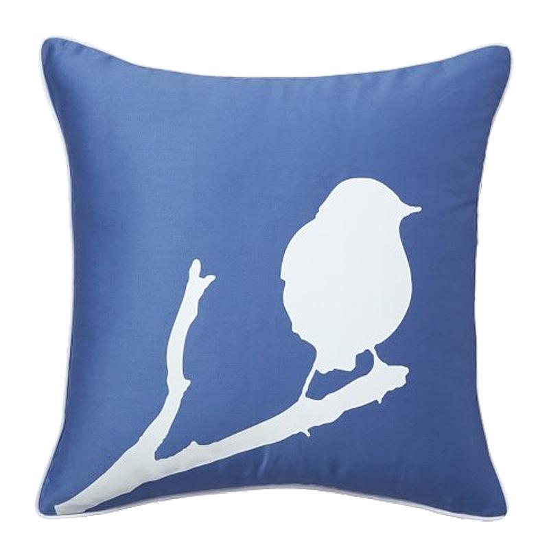 Подушка с птичкой Lone Bird Diamond-Blue