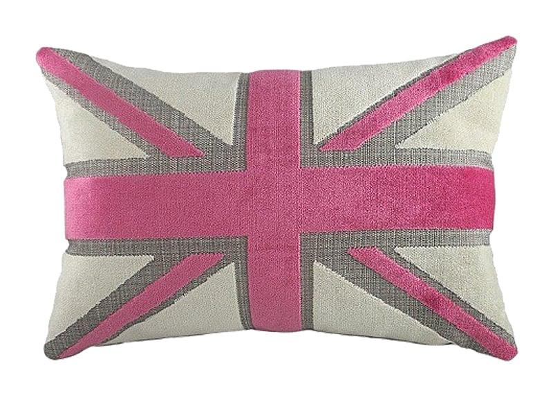 Подушка с британским флагом Pink Velvet