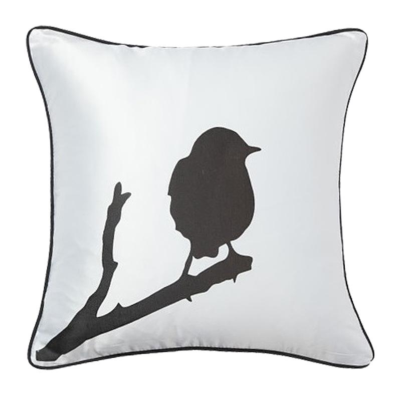 Купить Подушка с птичкой на ветке Lone Bird White в интернет магазине дизайнерской мебели и аксессуаров для дома и дачи