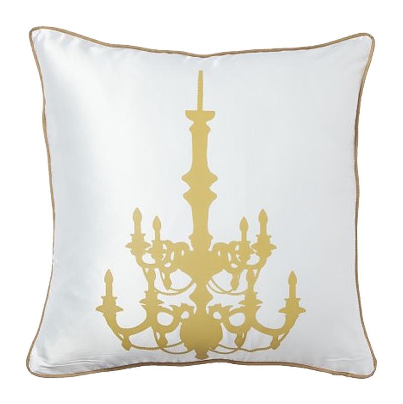 Подушка с золотым канделябром Chandelier White