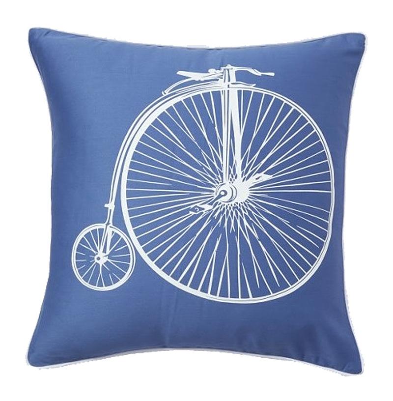 Купить Подушка с ретро-велосипедом Retro Bicycle Blue в интернет магазине дизайнерской мебели и аксессуаров для дома и дачи