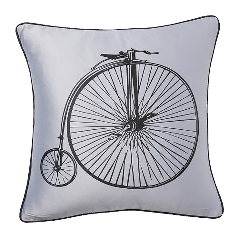 Подушка с ретро-велосипедом Retro Bicycle Grey, DG-D-PL23GR