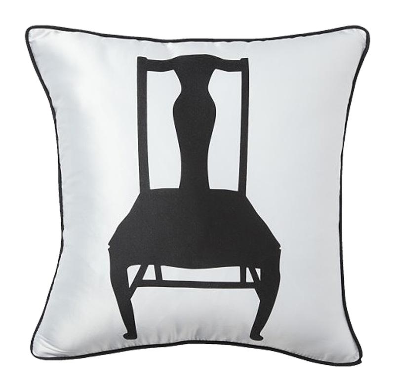 Подушка с изображением стула Chair WhiteПодушки<br>Белая хлопковая подушка, с рисунком в виде <br>чёрного стула и мягким упругим наполнителем, <br>хорошо поддержит вашу спину, поможет расслабиться <br>и принять удобную позу, послужит отличным <br>аксессуаром для декора. Подушка также будет <br>отличным сувениром и оригинальным подарком.<br><br>Цвет: Белый<br>Материал: 65% хлопок, 35% полиэстер<br>Вес кг: 0,4<br>Длина см: 43<br>Ширина см: 43<br>Высота см: 10