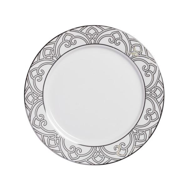 Тарелка PatternsТарелки<br>Тарелка классической формы изготовлена <br>из фарфора белого цвета с нанесением по <br>краю восточного орнамента в сером цвете. <br>Тарелка декорирована весьма элегантно, <br>и заслуживает внимания покупателей. Тарелку <br>можно приобрести отдельно или в комплекте <br>с другими столовыми предметами из серии.<br><br>Цвет: белый\серый<br>Материал: Китайский фарфор<br>Вес кг: 0,3<br>Длина см: 25<br>Ширина см: 25<br>Высота см: 1