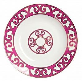 Тарелка для супа SiennaТарелки<br>Яркая и нарядная тарелка для супа коллекции <br>«Sienna» украсит собой обеденный стол и подчеркнет <br>изысканный вкус хозяев. Выполненная из <br>полупрозрачного костяного фарфора, тарелка <br>украшена насыщенным лиловым орнаментом <br>в стиле модерн (moderne). Изысканная окантовка <br>дополнена солярным символом в центре изделия. <br>Вы можете приобрести тарелку отдельно или <br>в комплекте с другими предметами серии <br>«Sienna».<br><br>Цвет: Белый, Розовый<br>Материал: Костяной фарфор<br>Вес кг: 0,2<br>Длина см: 21<br>Ширина см: 21<br>Высота см: 1,5