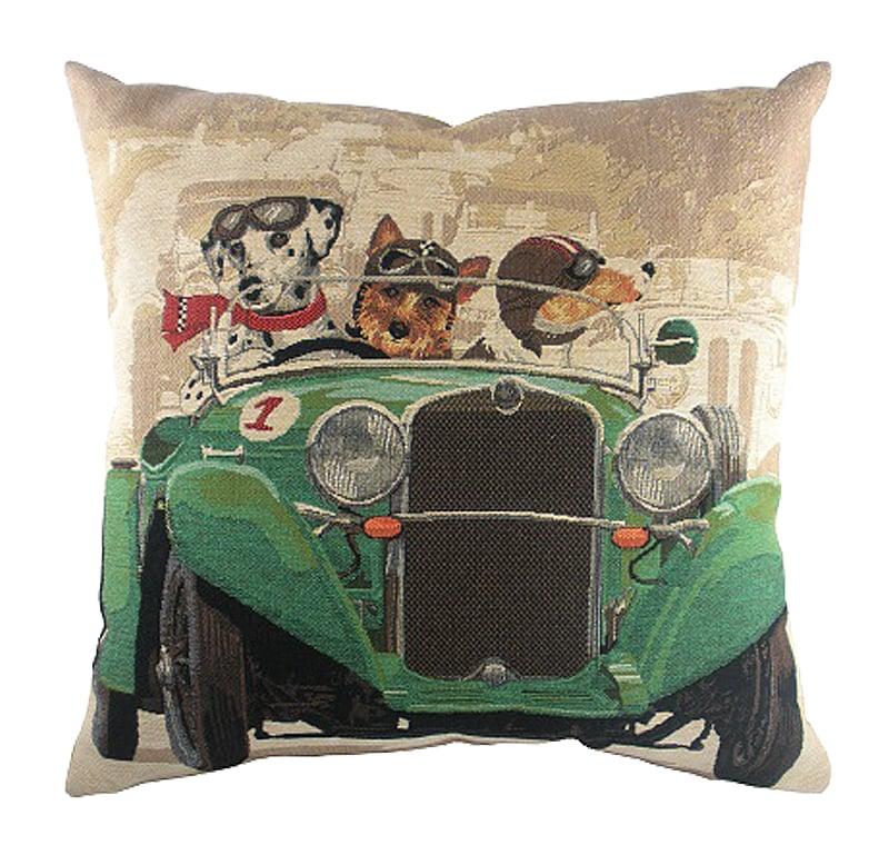 Подушка с забавными собаками на зеленом • автомобиле Doggie Drivers Green