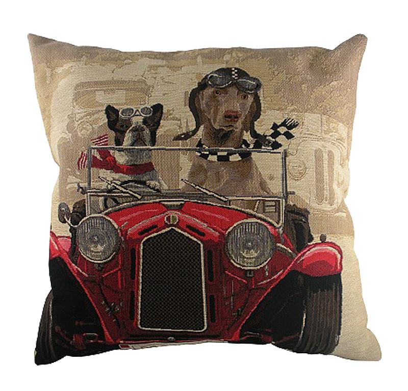Подушка с забавными собаками на красном • автомобиле Doggie Drivers Red, DG-D-PL270