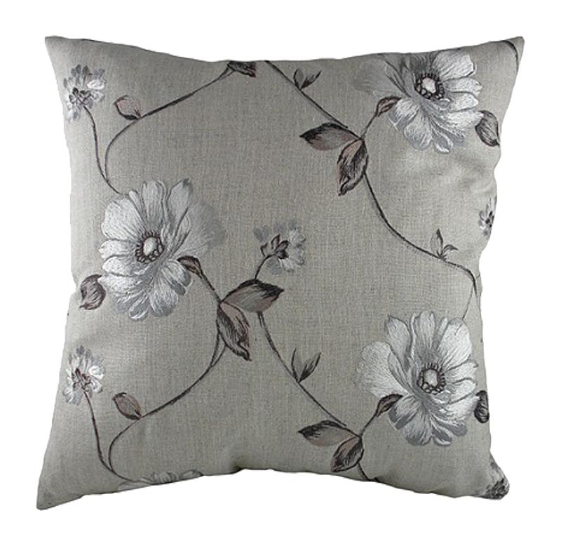 Подушка с цветочным орнаментом Gray Flowers