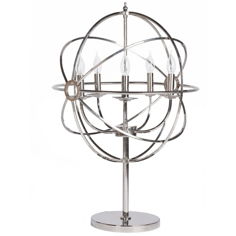 Напольный светильник Foucaults OrbТоршеры и напольные светильники<br>Напольный светильник Foucaults Orb вдохновляет <br>на продуктивную работу и великие открытия! <br>Выполнен полностью из хромированного металла, <br>поэтому удачно сочетается с предметами <br>другого цвета в интерьере. Лампа стоит на <br>круглом основании, по центру основания <br>расположена ножка, на которой находятся <br>металлические «орбиты», образующие вместе <br>сферу. Внутри этой сферы находятся подставки <br>под сами лампочки, которые стилизованы <br>под свечи.<br><br>Цвет: Хром<br>Материал: Металл<br>Вес кг: 7,1<br>Длина см: 52<br>Ширина см: 52<br>Высота см: 90