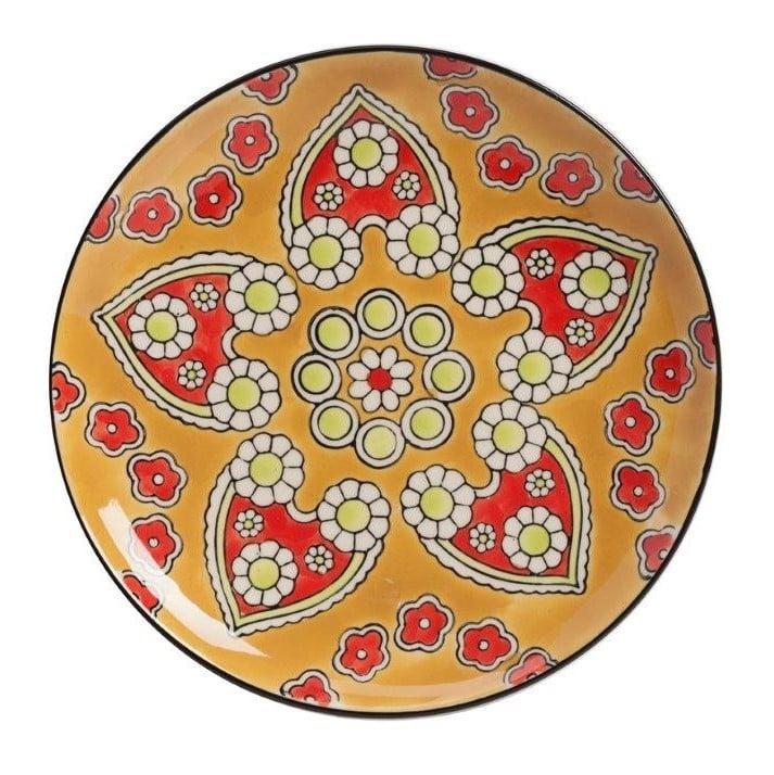 Мини-блюдо, раскрашенное вручную NoltyБлюда<br>Мини-блюдо Nolty, раскрашенное вручную, можно <br>по праву считать предметом искусства. Оригинальные <br>и роскошные рисунки по всей поверхности <br>посуды придают ей дорогой и, в то же время, <br>винтажный вид. Предмет декора может украшать <br>собой ваш дом как самостоятельно, так и <br>в комплекте с другими мини-блюдами этой <br>же коллекции. Добавьте ярких деталей в ваш <br>дом в стиле Прованс!<br><br>Цвет: Жёлтый<br>Материал: Грубая керамика<br>Вес кг: 0,5<br>Длина см: 20<br>Ширина см: 20<br>Высота см: 2,5