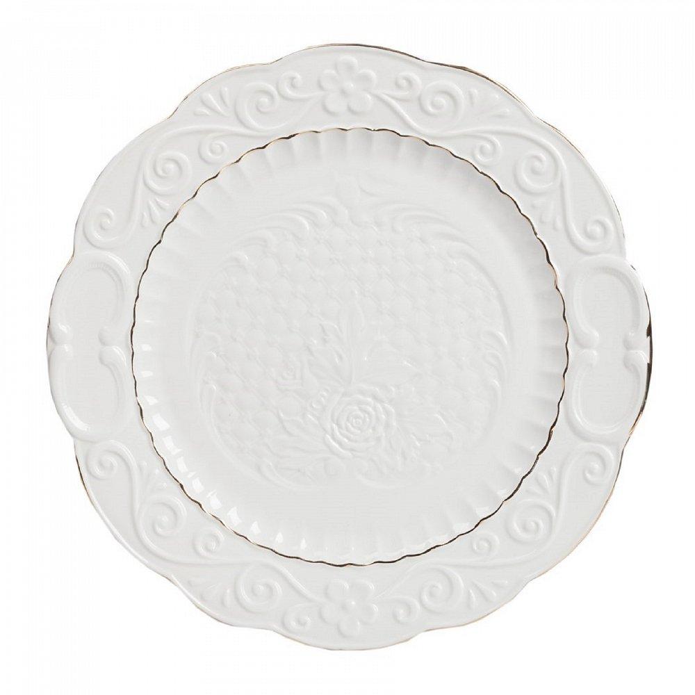 Большая тарелка BelezaТарелки<br>Выполненная из грубой керамики тарелка <br>Beleza диаметром 26 см, декорированная рельефным <br>растительным узором, центральный рисунок <br>выделен золотой каймой, украсит собой любой <br>стол, сервированный к важному событию.<br><br>Цвет: Белый<br>Материал: Грубая керамика<br>Вес кг: 0,7<br>Длина см: 26<br>Ширина см: 26<br>Высота см: 1,8