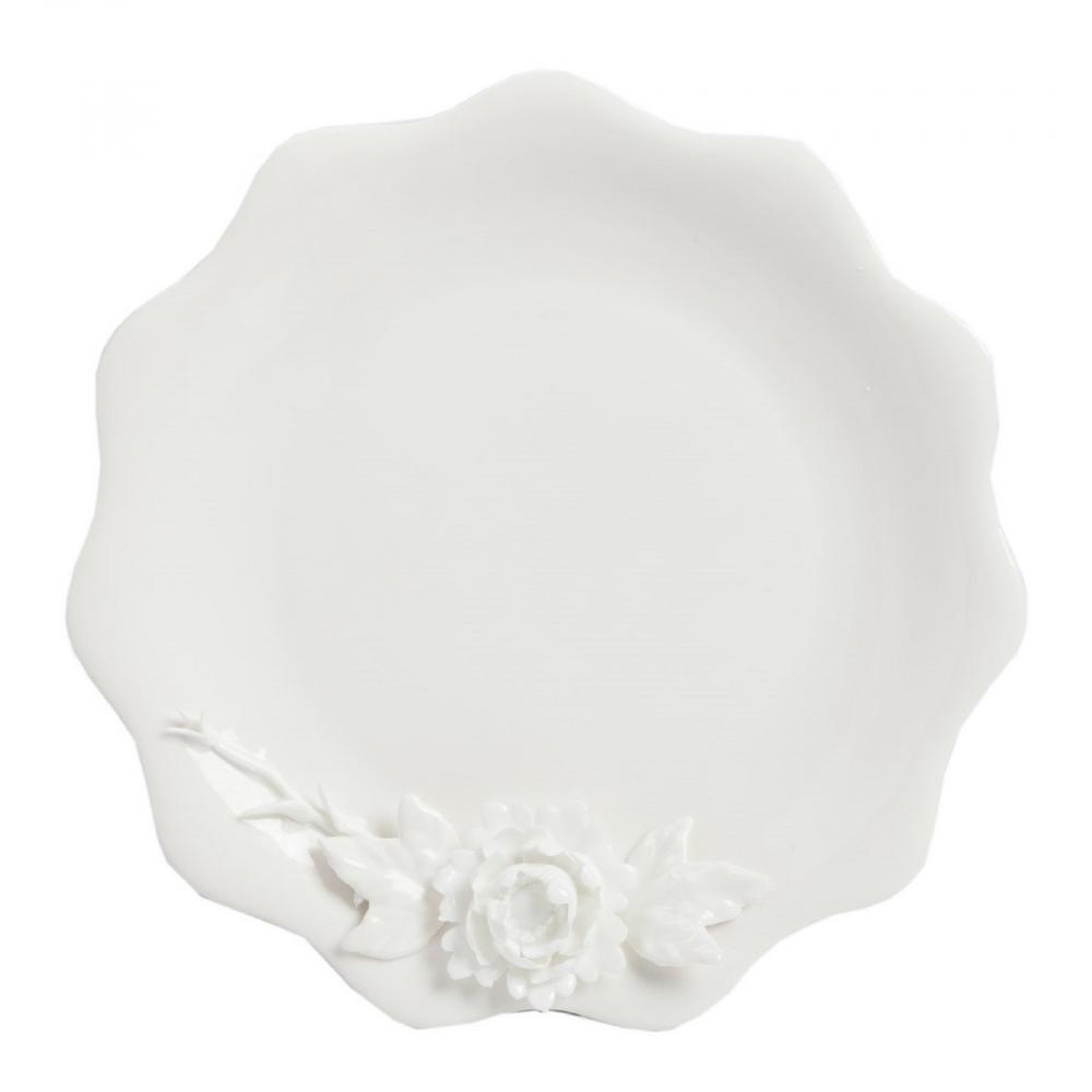 Большая тарелка Reiche DG-HOME Выполненная из грубой керамики большая  белая тарелка Reiche диаметром 30 см, в декоре  которой гармонично сочетается геометрическая  строгость краёв тарелки, изящные объемные  элементы в виде цветущего растения. Благодаря  этому тарелка станет отличным украшением  праздничного стола или интерьера кухни.