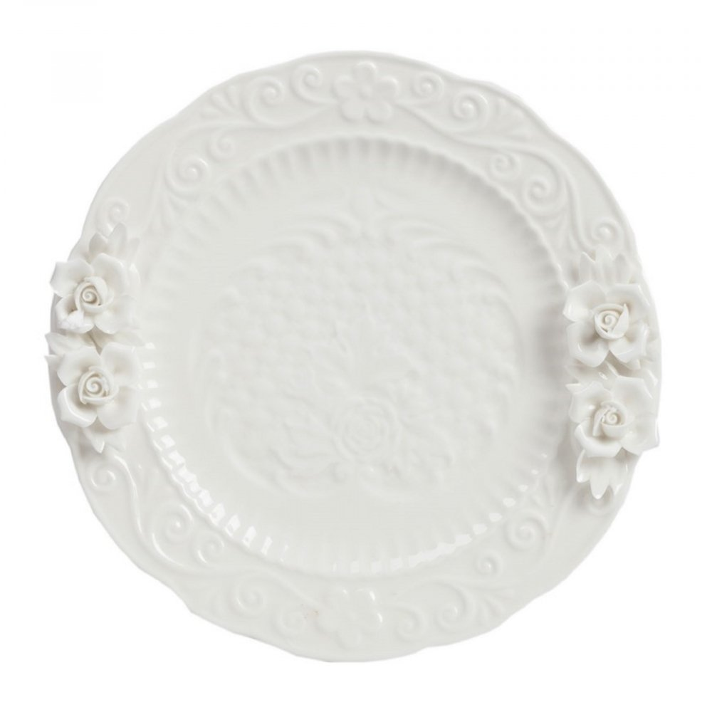 Тарелка Salito DG-HOME Выполненная из грубой керамики белая тарелка  Salito декорирована рельефным цветочным рисунком  и дополнена объемным изображением двух  цветков. Благодаря лаконичному декору тарелка  станет отличным украшением праздничного  стола или интерьера кухни.