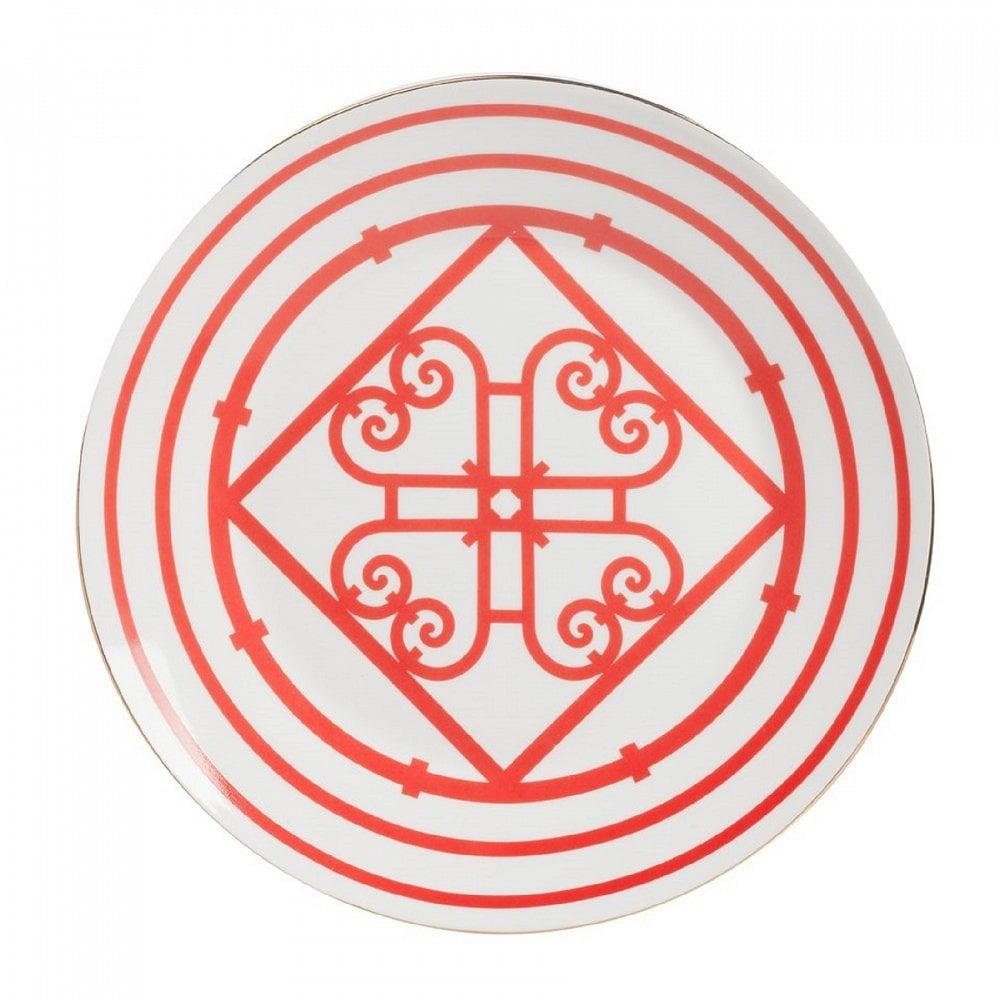 Большая тарелка SkarlettiТарелки<br><br><br>Цвет: Красный, белый<br>Материал: Костяной фарфор<br>Вес кг: 0,3<br>Длина см: 24<br>Ширина см: 24<br>Высота см: 1,6