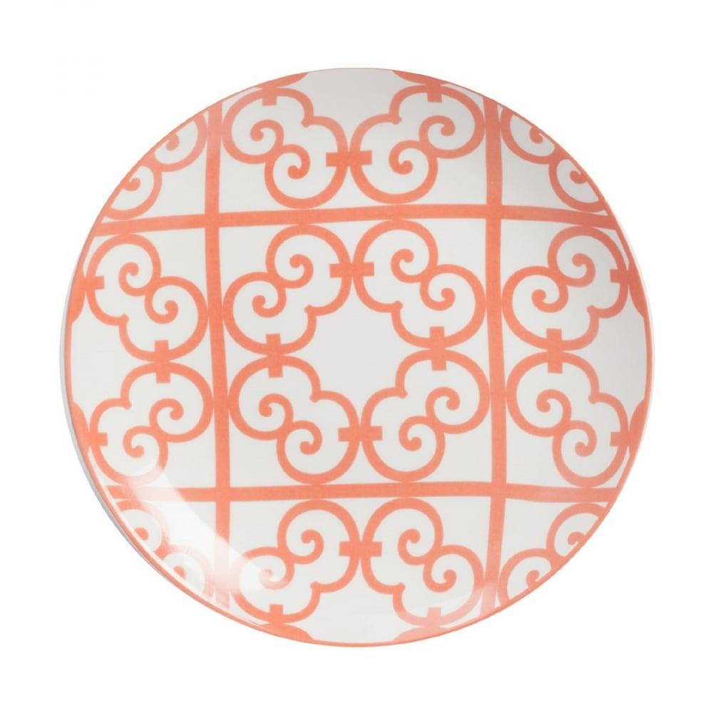 Тарелка LausannaТарелки<br>Тарелка Lausanna изготовлена из грубой керамики <br>в белом цвете, по всей поверхности нанесён <br>орнамент красного цвета в виде завитков. <br>Тарелку можно приобрести отдельно или в <br>комплекте с другими столовыми предметами <br>из коллекции.<br><br>Цвет: Красный, белый<br>Материал: Костяной фарфор<br>Вес кг: 0,2<br>Длина см: 19<br>Ширина см: 19<br>Высота см: 1,3