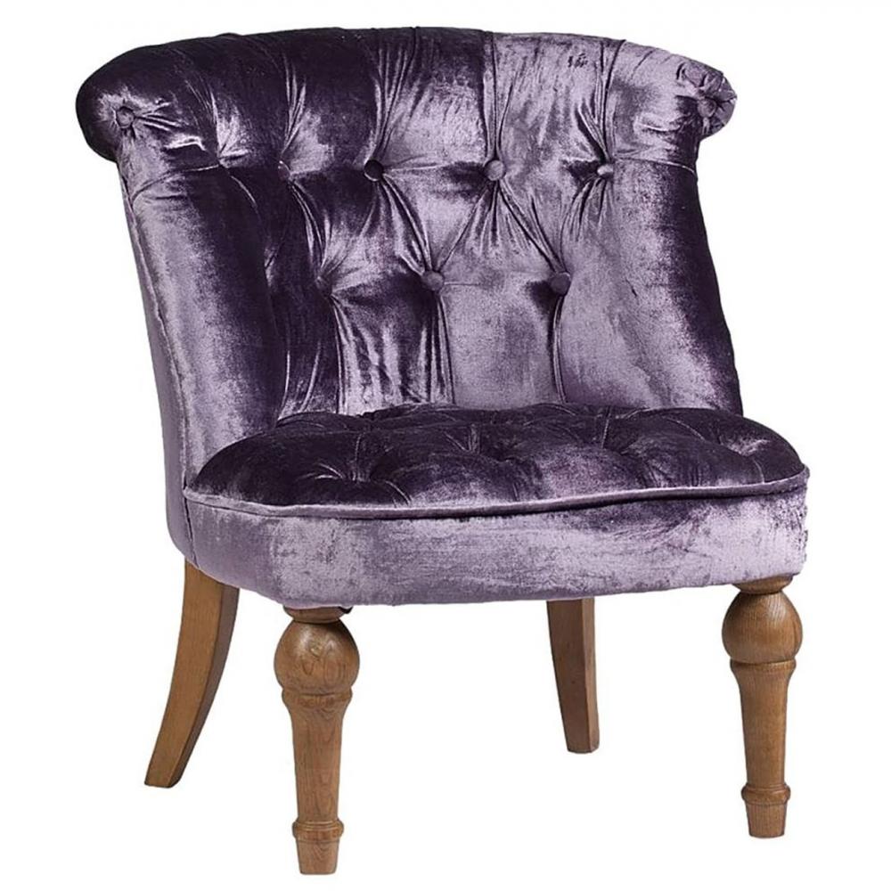 Кресло Sophie Tufted Slipper Chair Фиолетовый ВельветКресла<br><br><br>Цвет: фиолетовый<br>Материал: деревянный каркас (дуб), ткань (вельвет)<br>Вес кг: 12<br>Длина см: 70<br>Ширина см: 70<br>Высота см: 72
