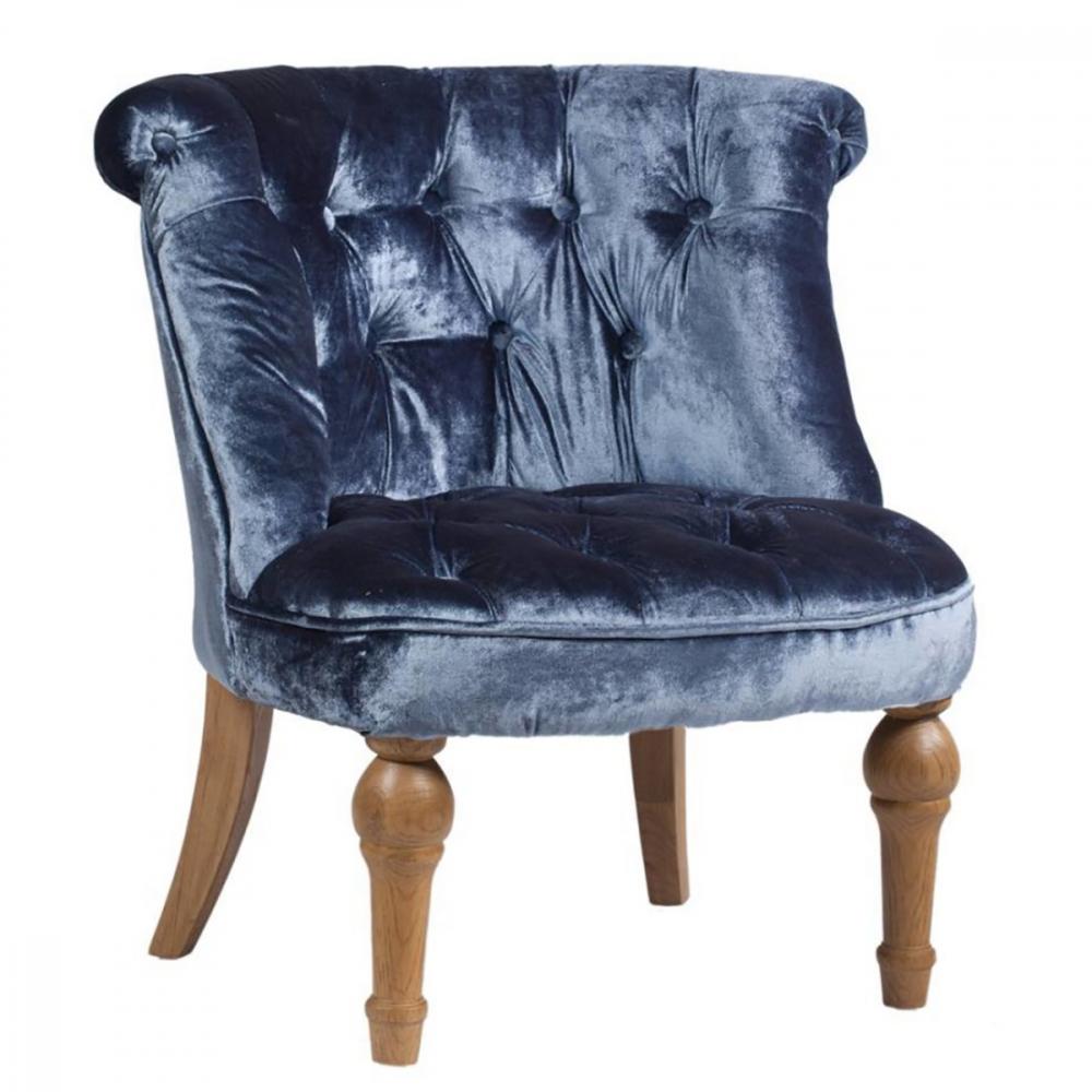 Фото Кресло Sophie Tufted Slipper Chair Синий Вельвет. Купить с доставкой