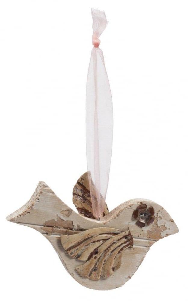 Элемент декора подвесной птичка MandarinДекор для дома<br>Элемент декора Mandarin подчеркнет оригинальное <br>и одновременно простое оформление вашего <br>дома в стиле Прованс, привнесет в него уют <br>и изысканность. Птичка выполнена из пихты <br>и имеет специально потертые оловянные детали, <br>которые удачно впишутся в ваш деревенский <br>интерьер. Небольшие размеры аксессуара <br>позволяют разместить его самостоятельно <br>или в композиции с другими предметами коллекции.<br><br>Цвет: Бежевый<br>Материал: Дерево, Металл<br>Вес кг: 0,1<br>Длина см: 15<br>Ширина см: 1,5<br>Высота см: 5