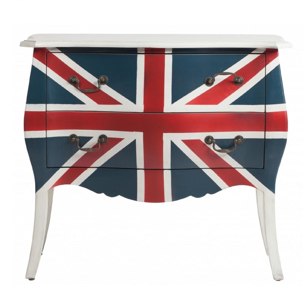 Комод Bretana DG-HOME Комод Bretana, изготовленный из натурального  дерева (береза) и раскрашенный флагом Великобритании  — это яркий и выразительный аксессуар,  который придётся по душе любителям британского  стиля и символики. Если вы хотите приобрести  себе домой не только функциональную вещь,  но и яркое дополнение для интерьера вашего  дома, тогда вам обязательно понравится  этот комод.