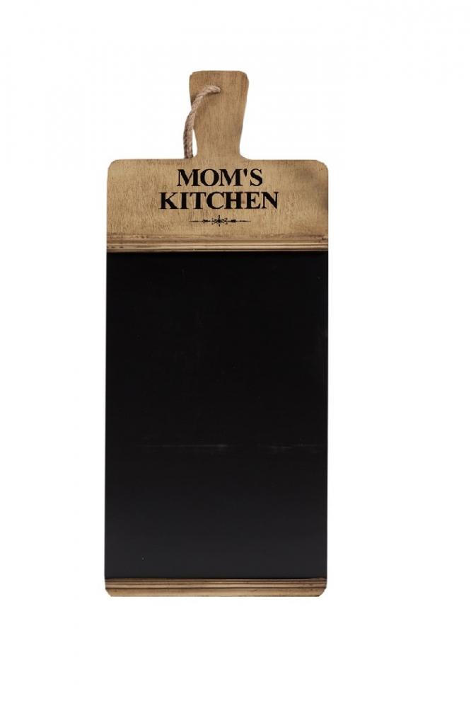 Декоративная настенная доска для заметок Декор стен<br>Декоративная настенная доска для заметок <br>Moms Kitchen послужит вам не только украшением <br>кухни или гостиной комнаты, но и станет <br>полезным предметом в хозяйстве. На доске <br>можно записывать новые рецепты, оставлять <br>указания или трогательные записки близким <br>людям. Аксессуар имеет достаточно простую <br>форму, однако привнесет в интерьер оригинальность, <br>очарование и уют.<br><br>Цвет: Чёрный, Коричневый<br>Материал: Дерево<br>Вес кг: 2,1<br>Длина см: 31<br>Ширина см: 2,5<br>Высота см: 100