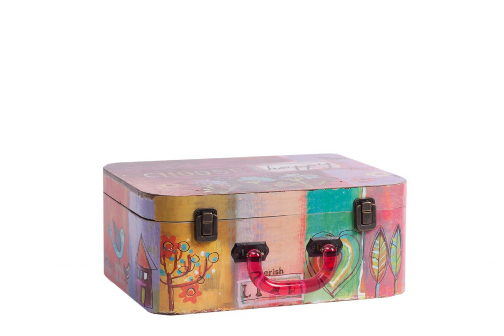 Декоративный чемодан с акриловыми ручками Коробки и кейсы для хранения<br>Декоративный чемодан с акриловыми ручками <br>Arcobaleno Grande с очаровательной яркой и насыщенной <br>разноцветной росписью непременно украсит <br>собой любую комнату вашего дома и наполнит <br>её уютом, оригинальностью и шармом. Аксессуар <br>может выполнять эстетическую функцию, а <br>может и практическую: благодаря вместительности, <br>в нем можно хранить предметы одежды или <br>ценные вещи.<br><br>Цвет: Разноцветный<br>Материал: МДФ<br>Вес кг: 0,9<br>Длина см: 34<br>Ширина см: 27<br>Высота см: 14
