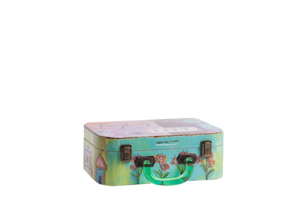 Декоративный чемодан с акриловыми ручками Коробки и кейсы для хранения<br>Декоративный чемодан с акриловыми ручками <br>Arcobaleno Media с очаровательной яркой и насыщенной <br>разноцветной росписью непременно украсит <br>собой любую комнату вашего дома и наполнит <br>её уютом, оригинальностью и шармом. Аксессуар <br>может выполнять эстетическую функцию, а <br>может и практическую: благодаря вместительности, <br>в нем можно хранить мелкие предметы одежды <br>или ценные вещи.<br><br>Цвет: Разноцветный<br>Материал: МДФ<br>Вес кг: 0,5<br>Длина см: 29<br>Ширина см: 22<br>Высота см: 11