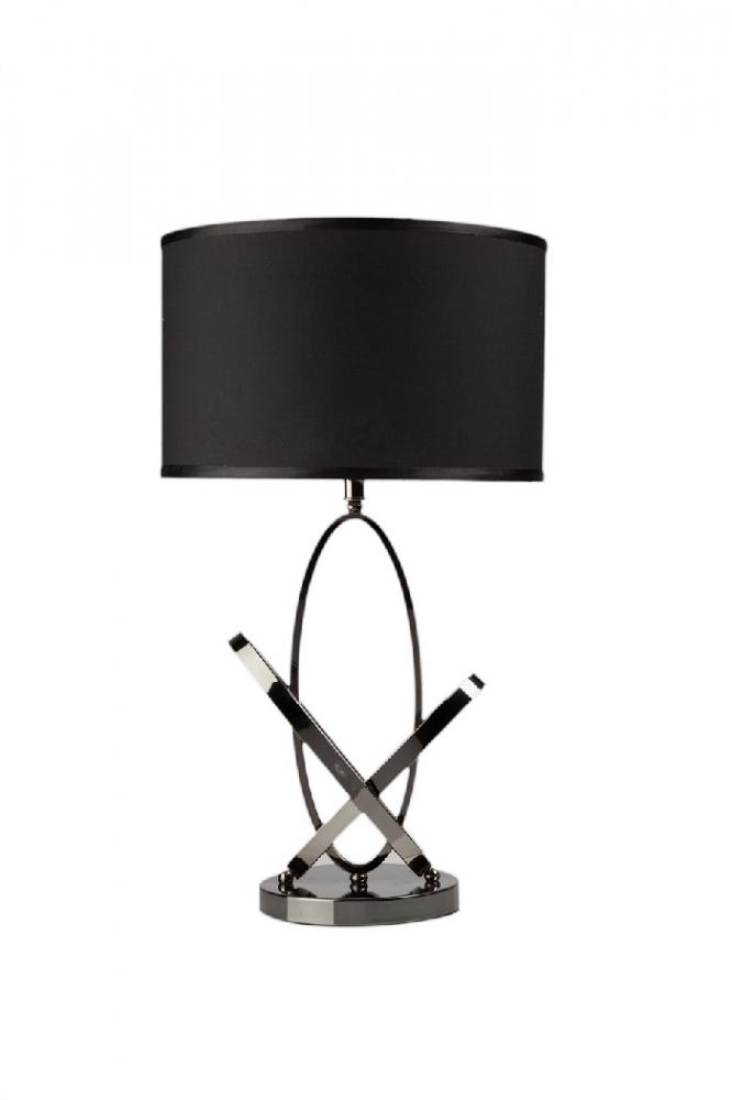 Настольная лампа Angelo ЧернаяНастольные лампы<br>Настольная лампа Angelo — изысканная и модная <br>деталь интерьера, способная привнести в <br>него не только роскошь, но и неповторимость. <br>Каркас аксессуара выполнен из нержавеющей <br>стали, абажур — тканевый чёрного цвета. <br>За счет этого лампа будет удачно гармонировать <br>с общим оформлением комнаты в любом стиле, <br>привнося в нее яркость и лоск. Предназначена <br>для использования со светодиодными лампами<br><br>Цвет: Чёрный<br>Материал: Металл, Ткань<br>Вес кг: 2,7<br>Длина см: 37<br>Ширина см: 37<br>Высота см: 67