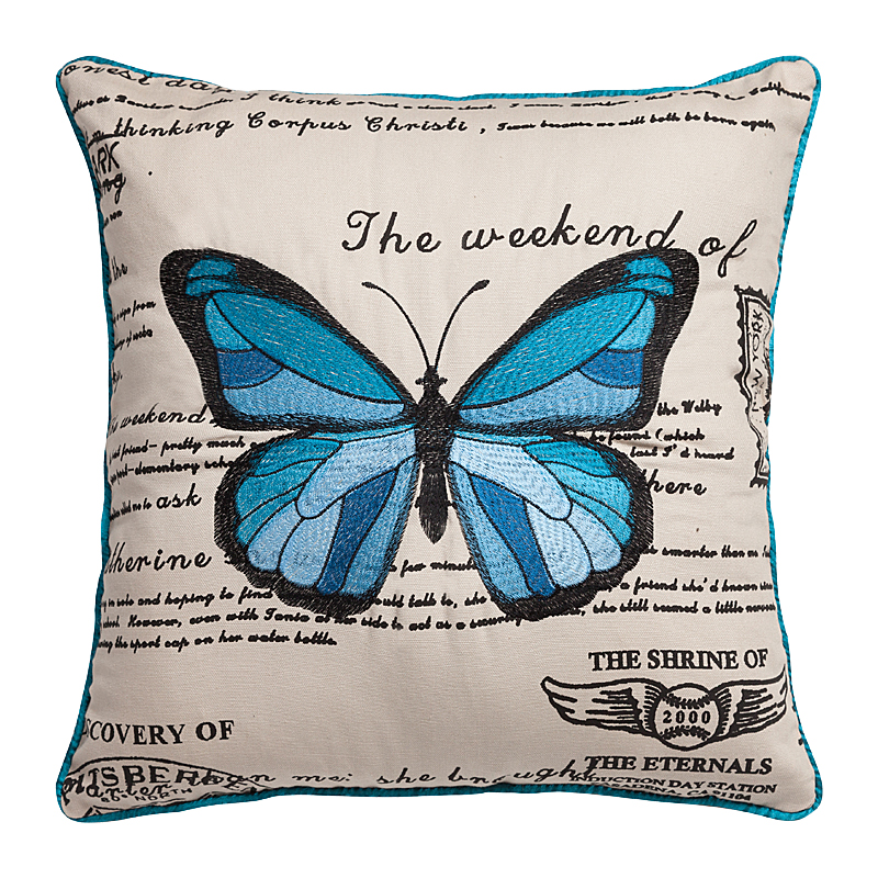 Фото Подушка с голубой бабочкой Arte. Купить с доставкой