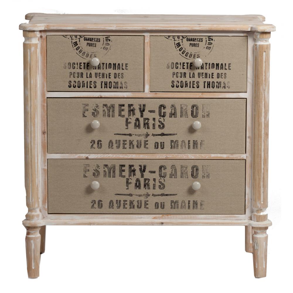 Комод Lazzio DG-HOME Оригинальный деревянный комод Lazzio в стиле  Прованс с четырьмя ящиками — это настоящая  находка для тех, кто стремиться создать  дома атмосферу комфорта, уюта и тепла. Он  напоминает посылку, пришедшую из Франции.  Состаренная краска и блеклые штампы создают  винтажный эффект. Вы с легкостью определите  назначение ящикам разных размеров. Предмет  мебели изготовлен из натурального дерева  (ель), искусственно состарен, весьма выдержанный  и лаконичный. Интересная фактура поверхности  ящиков и надписи на нем делают комод уникальным  и очаровательным.