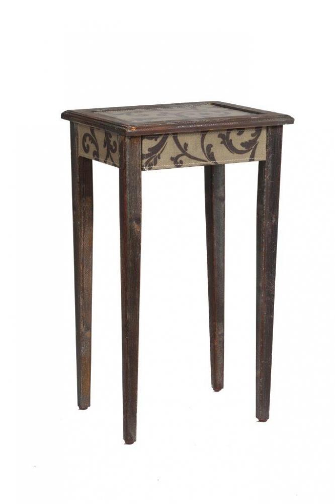 Кофейный столик Tentacion СреднийКофейные и журнальные столы<br>Кофейный столик Tentacion Media — изысканный <br>и роскошный предмет мебели, сделанный из <br>натурального дерева (ели), который непременно <br>подчеркнет красоту интерьера и ваш непревзойденный <br>вкус. Такой столик станет удачным дополнением <br>к общей картине комнаты в стиле Provence. С ним <br>можно организовать уютный уголок отдыха, <br>где за чашечкой ароматного кофе или чая <br>вы сможете посвятить время себе и насладиться <br>чтением любимой книги или другим увлекательным <br>занятием.<br><br>Цвет: Коричневый<br>Материал: Дерево, МДФ, Ткань<br>Вес кг: 2,4<br>Длина см: 36,5<br>Ширина см: 30<br>Высота см: 61