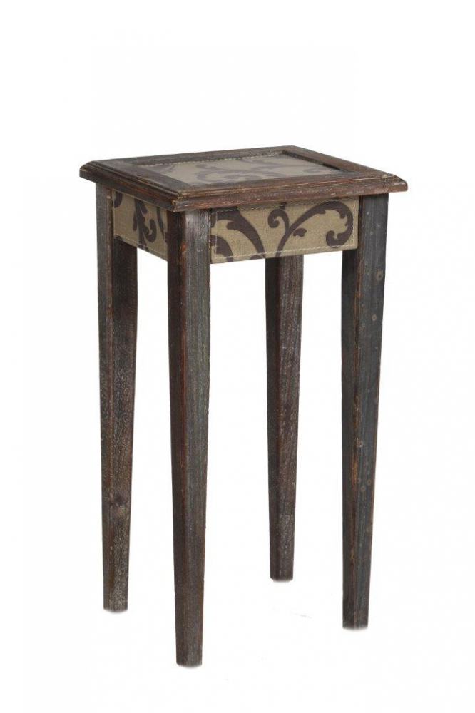 Кофейный столик Tentacion МаленькийКофейные и журнальные столы<br>Кофейный столик Tentacion Piccolo — изысканный <br>и роскошный предмет мебели, сделанный из <br>натурального дерева (ели), который непременно <br>подчеркнет красоту интерьера и ваш непревзойденный <br>вкус. Такой столик станет удачным дополнением <br>к общей картине комнаты в стиле Provence. С ним <br>можно организовать уютный уголок отдыха, <br>где за чашечкой ароматного кофе или чая <br>вы сможете посвятить время себе и насладиться <br>чтением любимой книги или другим увлекательным <br>занятием.<br><br>Цвет: Коричневый<br>Материал: Дерево, МДФ, Ткань<br>Вес кг: 1,8<br>Длина см: 27<br>Ширина см: 23<br>Высота см: 51