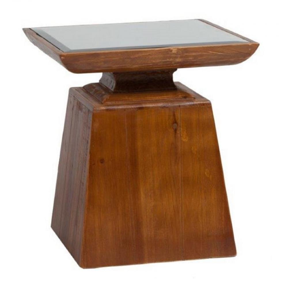 Журнальный столик с зеркалом PompezaКофейные и журнальные столы<br>Журнальный столик Pompeza — это уникальный <br>предмет мебели, представляющий собой деревянную <br>тумбу, выполненную из натурального дерева <br>(ели), с зеркальной столешницей. Он украсит <br>собой любую комнату вашего дома, привнеся <br>в нее дополнительный уют и тепло, изысканность <br>и аристократичность. Столик может служить <br>как самостоятельным предметом декора, так <br>и подставкой под цветы, аксессуары и милые <br>безделушки.<br><br>Цвет: Коричневый<br>Материал: Дерево, Зеркало<br>Вес кг: 5<br>Длина см: 38<br>Ширина см: 38<br>Высота см: 43